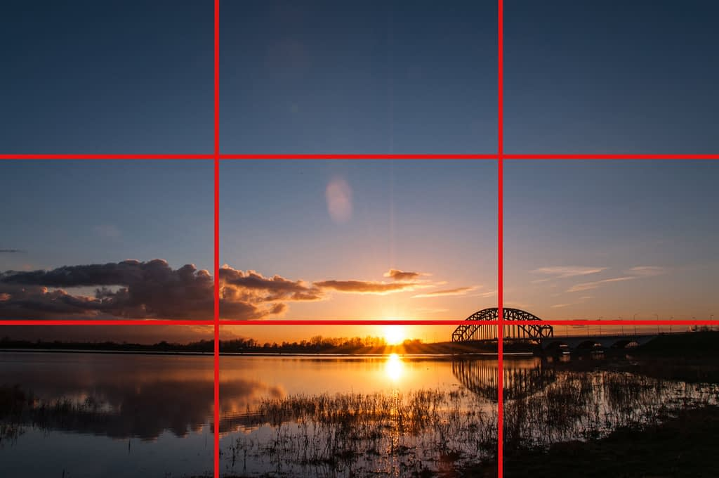 rule of thirds tic-tac-toe grid, the base of a good composition